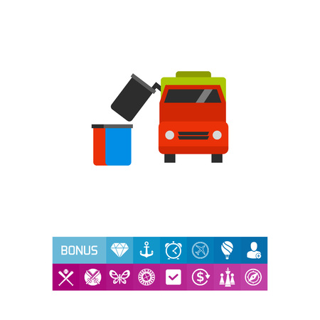 Vector icon of garbage truck removing dumpster. Public utilities, trash pickup, waste management. Garbage collectors concept. Can be used for topics like recycling, transportation, urban services Illustration