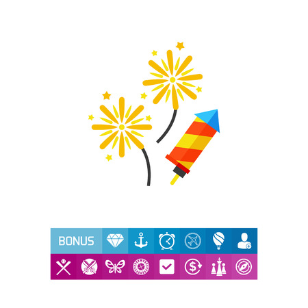 Vector icon of exploding pyrotechnic rockets. Party, festival, fun. Firework concept. Can be used for topics like entertainment, pyrotechnics, holiday