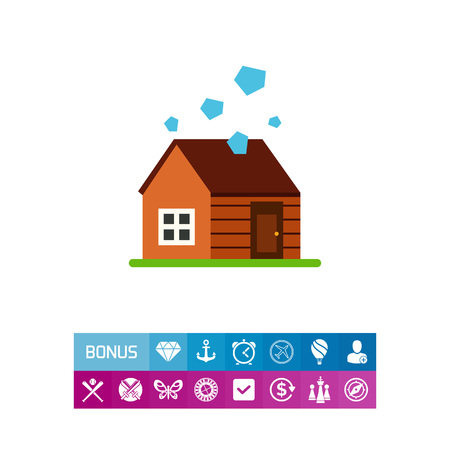 Vector icon of house in hailstorm. Catastrophe, disaster, misfortune. Natural disaster concept. Can be used for topics like natural phenomenon, insurance business, weather Illustration