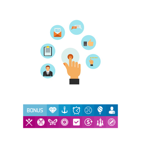 Vector icon of hand touching application icon. Online services, networking, smart technology. CRM system concept. Can be used for topics like business, technology, management