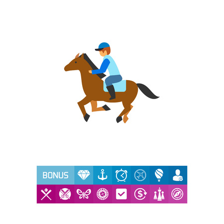 Vector icon of jockey riding horse at hippodrome. Equestrian, horse riding, competition. Gambling concept. Can be used for topics like professional sport, leisure, farm animals Illustration