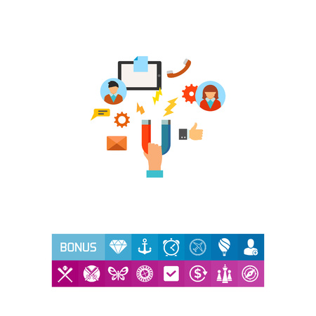 Vector icon of hand holding magnet attracting clients and services. Customer attraction, advertisement, management. CRM system concept. Can be used for topics like business, communication, technology