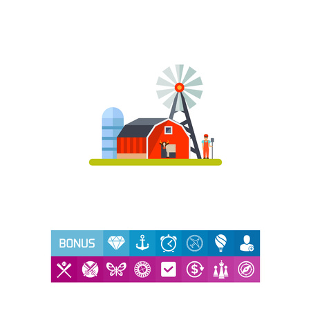 Vector icon of milk farm with windmill and farmer. Dairy farm, rural industry, private industry. Milk production concept. Can be used for topics like agriculture, cattle breeding, business