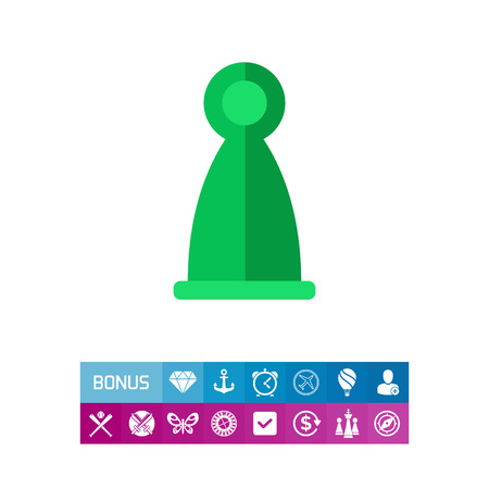 Icon of ludo figure. Piece, player, activity. Board games concept. Can be used for topics like leisure, game or entertainment