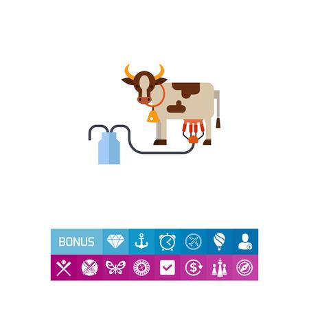 Machine milking cow vector icon Ilustração