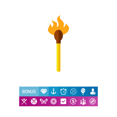 conflagration: Match with fire vector icon Illustration