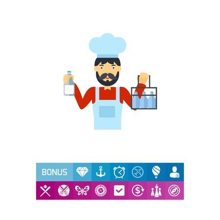 milkman: Milkman holding milk bottles vector icon Illustration