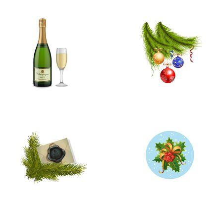 Conjunto de iconos de símbolos de año nuevo. Botella de Champagne con flauta Chucherías en el árbol de Navidad Envolvente sellado Muérdago con nieve