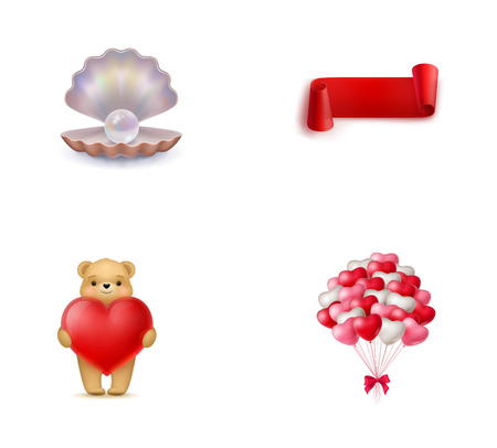 red balloons: Valentines Day symbols icon set. Pearl in open shell Red curved ribbon Teddy bear holding heart Bunch of heart-shaped balloons