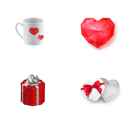 Valentines Day presents icon set. Cup with hearts Ruby heart Gift box Heart-shaped box