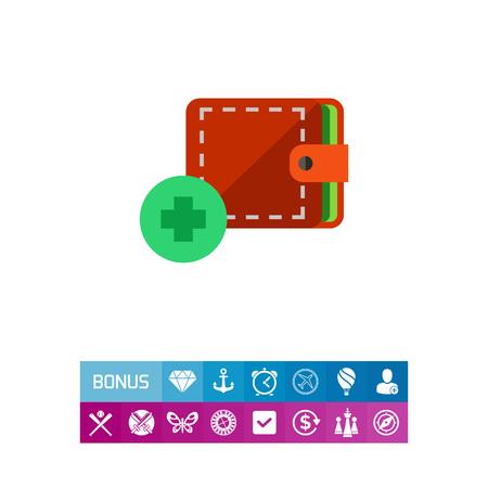 Adding Wallet Vector Icon. Vector illustration.