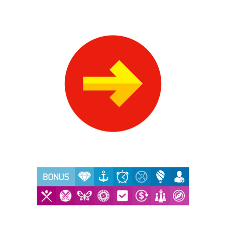 Illustration of yellow arrow pointing to right on circle background. Arrow and circle, direction, pointer. Direction concept.