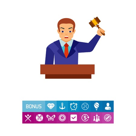 Auctioneer holding gavel vector icon. Vector illustration.