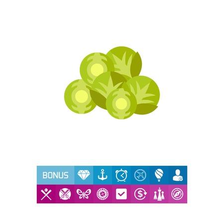 Icono de coles de Bruselas. Vegetales, repollo, ingrediente, brotes. Comida popular en el concepto de Bélgica. Se puede utilizar para temas como comida sana, estilo de vida o receta Foto de archivo - 83249747