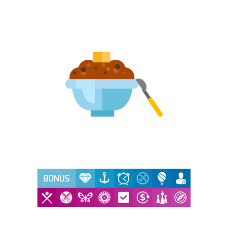 Icon of buckwheat porridge. Dish, meal, cuisine. Healthy food concept. Can be used for topics like breakfast, menu, cooking Çizim