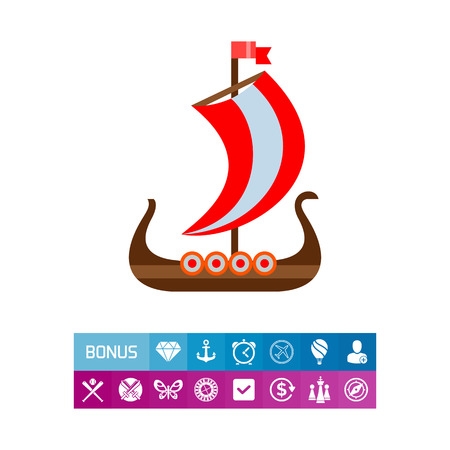 Vector of drakkar Viking ship with red sail. Vikings, vessel, Scandinavia. Denmark and Scandinavia concept. Can be used for topics like world history, Viking age, navy history Illustration