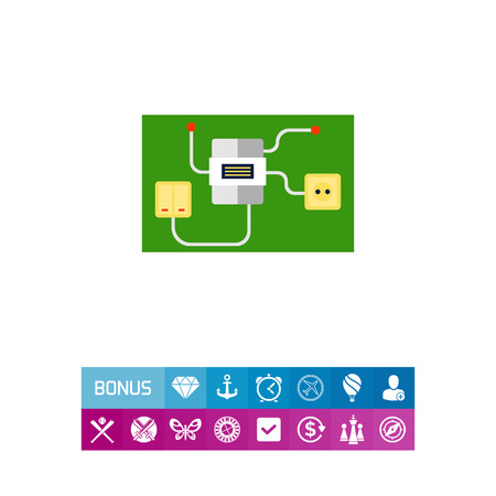Light switch and socket connected to electric meter. Interior, energy, house. Electrical household supplies concept. Can be used for topics like electricity, electronics, technology.