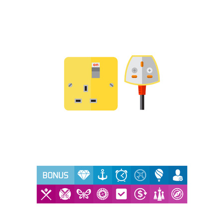 Electrical outlet and plug in UK. Safety, energy, house. Power supply concept. Can be used for topics like electricity, electronics, technology.