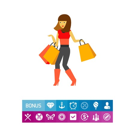 Vector icon of girl wearing high-heeled boots holding shopping bags. Shopping, shopaholic, consumerism. Sales concept. Can be used for topics like leisure, shopping, femininity