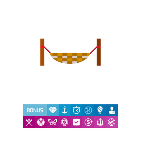 Icon of hanging hammock tied to poles. Relax, leisure, sleeping. Colombia concept. Can be used for topics like resting, comfort, summer or easy living Illustration