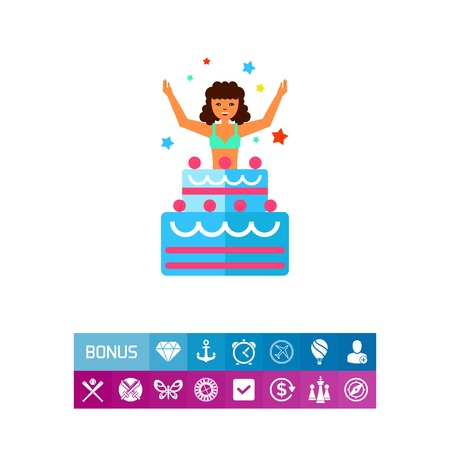 Icon of woman jumping out of cake. Surprise, birthday, anniversary. Celebration concept. Can be used for topics like party, entertainment, show