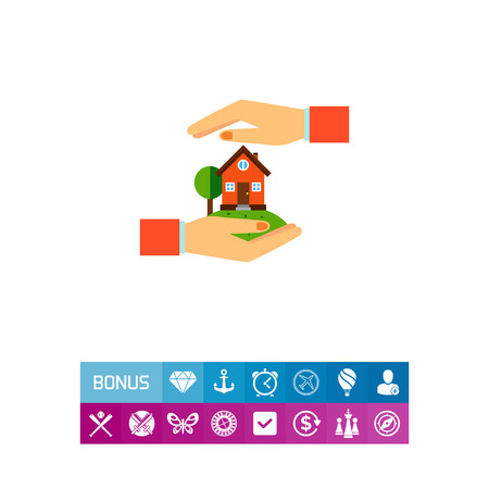 Home between hands. Protection, safety, building. Home insurance concept. Can be used for topics like insurance, management, business.