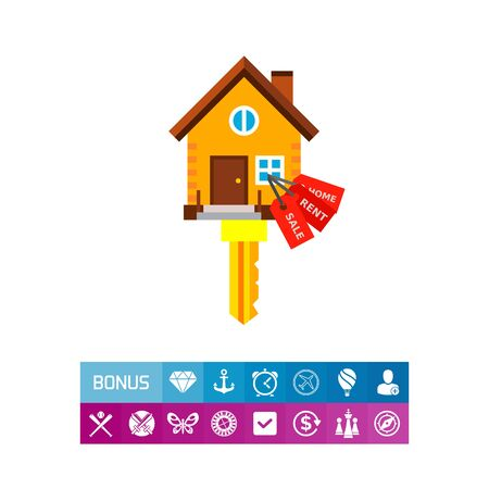 Icon of house-shaped key with labels. Home, rent, sale. House concept. Can be used for topics like rent, new house or property purchase