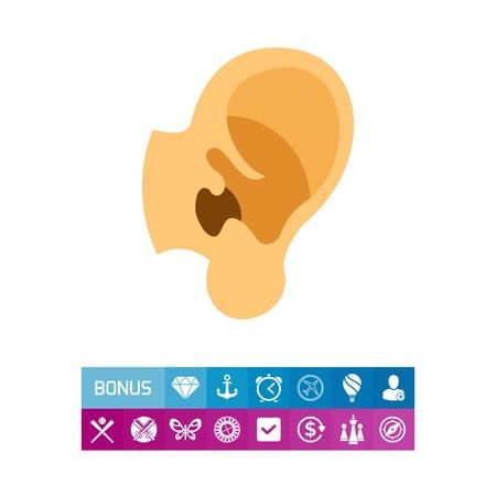 인간의 귀 아이콘입니다. 해부학, 소리, 감각. 본문 부분 개념입니다. 건강 관리, 음악, 의학 같은 주제에 사용할 수 있습니다.