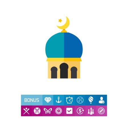 Icon of Islamic sign. Star and crescent, building, roof. Islam culture concept. Can be used for topics like symbol, architecture or sight