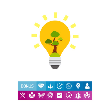 Light Bulb with Green Tree Icon Illustration
