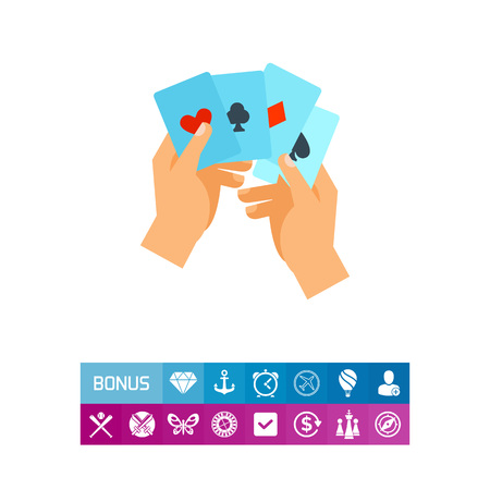 clubs diamonds: Hand with four aces vector icon