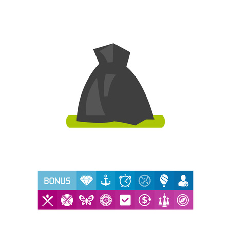 Vector icon of garbage bag. Volunteering, trash pickup, waste management. Garbage collectors concept. Can be used for topics like ecology, sanitation, urban services Illustration