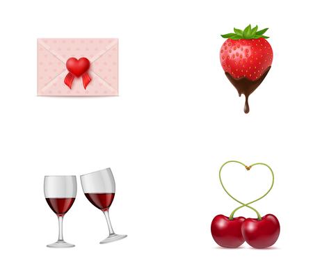 Love symbols icon set Illustration