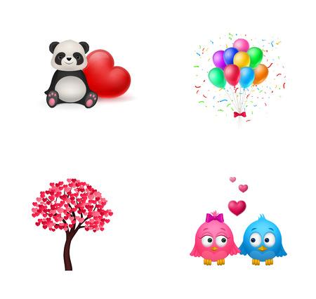 Love and childhood icon set Illusztráció