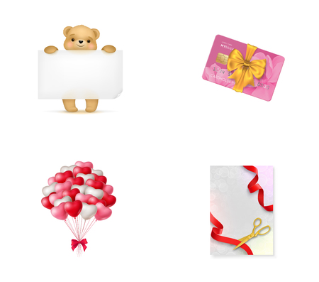 red balloons: Holiday shopping icon set