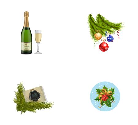 New Year symbols icon set