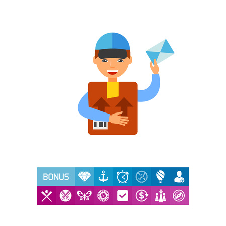 Icon of postman delivering package. Letter, postman, message. Postal service concept. Can be used for topics like communication, correspondence, occupation Illustration
