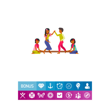 Philippines people dancing tinikling icon Illustration