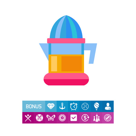 juice extractor: Plastic electric juicer vector icon Illustration