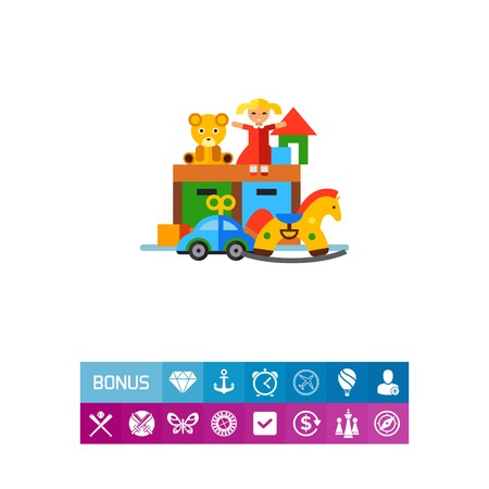 toy chest: Playroom with toys vector icon Illustration