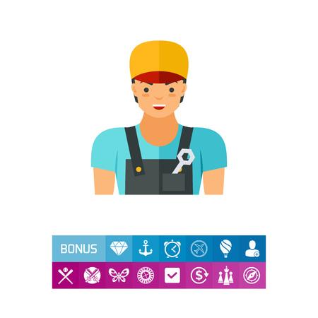 Plumber in uniform vector icon Illustration