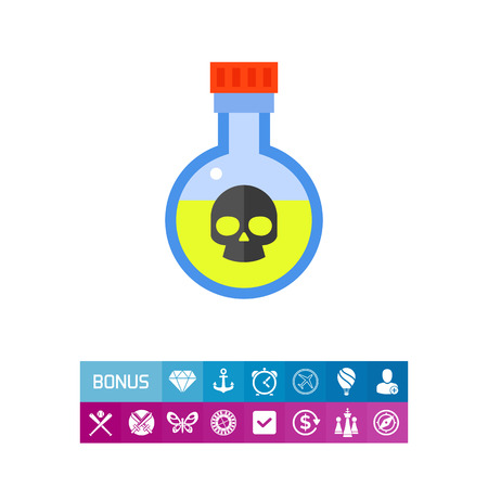 toxic substance: Vector icon of yellow liquid in flask with skull symbol. Poison, chemical, toxic. Chemistry concept. Can be used for topics like science, pharmacy, medicine