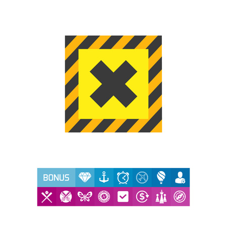 Symbol of potentially harmful chemical substance. Warning sign, prohibition, hazard symbol. Chemistry concept. Can be used for application icon and topics like science and symbols