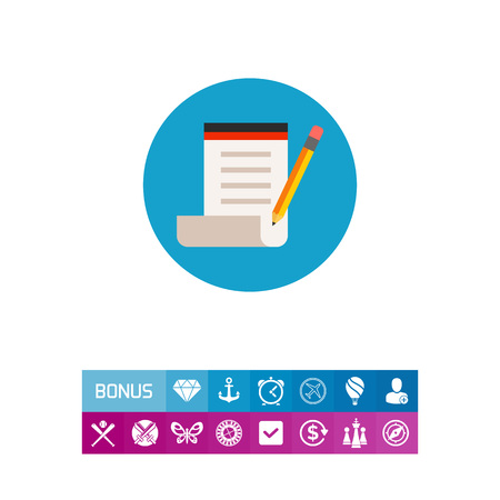 author: Icon of taking note. Paper, pencil, creativity. Blogging concept. Can be used for topics like author, writer or journalism