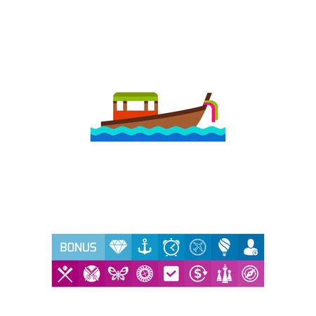 Thai boat floating on waves icon