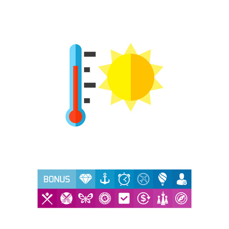 Thermometer showing heat wave vector icon Illustration