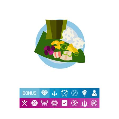 Top view of laulau on plate icon Иллюстрация