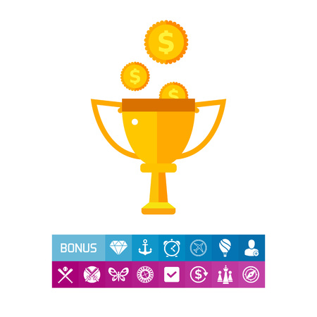 Icon of trophy cup and moneyrain. Dishonest, award, prize. Corruption in sport concept. Can be used for topics like bureaucracy, victory or money reward