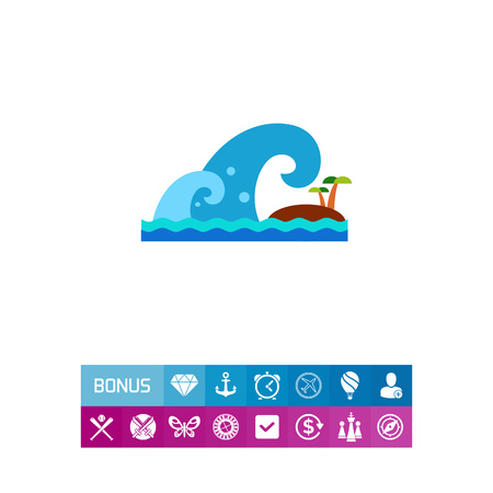 Vector icon of tsunami overwhelming island. Catastrophe, earthquake, misfortune. Natural disaster concept. Can be used for topics like natural phenomenon, insurance business, social security Illustration