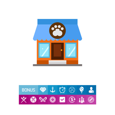 cat grooming: Store building icon Illustration
